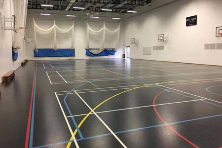 black synthetic flexi-beam sports floor