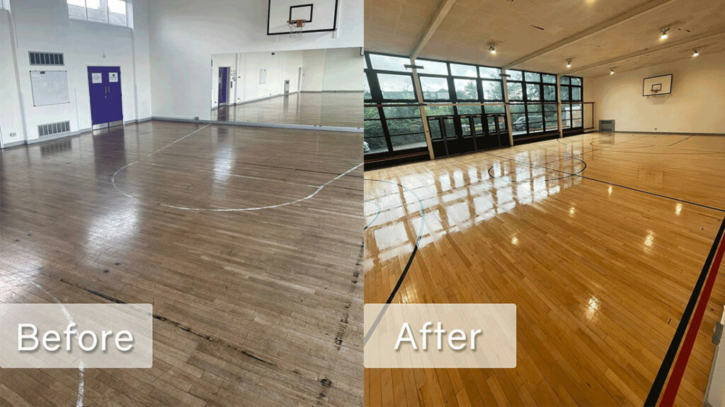 hayesfield school before and after sports floor